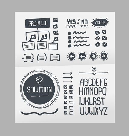 action plan: Handmade collection of template elements for creating action plan layout Illustration