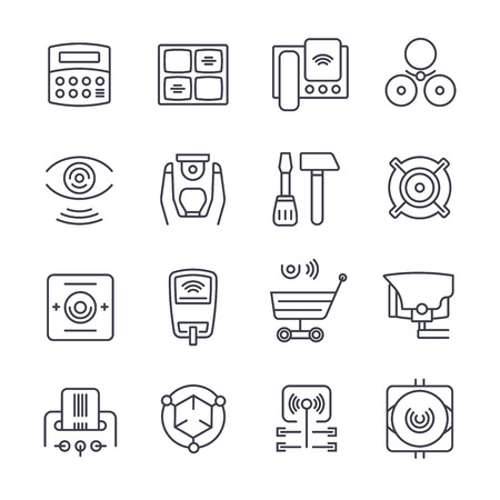 burglar alarm: Home and commercial security icons set in outline style
