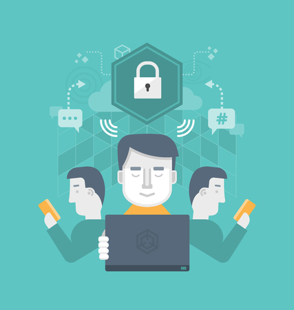 digital security: Different users safely share information through internet communication Illustration