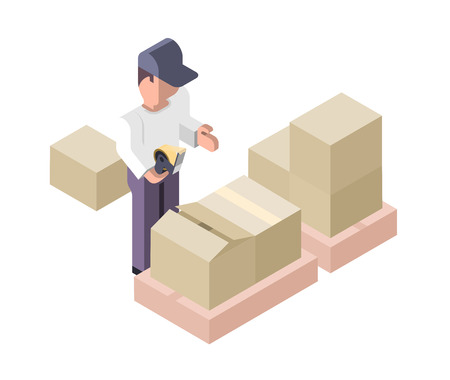 packing tape: Worker is wrapping a parcel with adhesive packaging tape Illustration