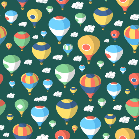 aerostat: Seamless colorful pattern of hot air balloons floating in clouds Illustration