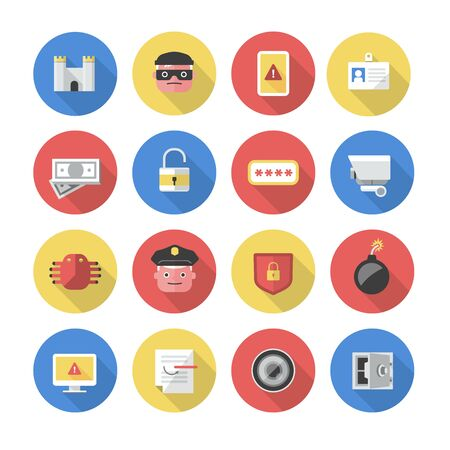 control fraud: Collection of modern icons of security concepts such as data protection, internet and finance security