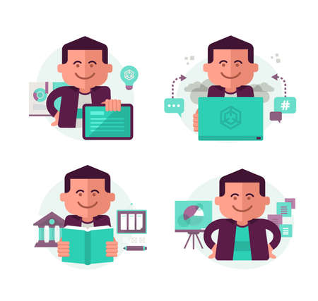 text messaging: Icons in modern flat style with a man in different education and learning related situations for web, mobile applications and print design. Illustration