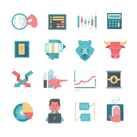 traders: Modern icons in flat design style of trading stocks online, financing and making investment