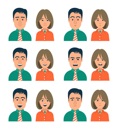 happy business man: Collection of icons of people in modern flat style with different facial expressions. Perfect to use as personal avatar on forums, blogs or web applications.