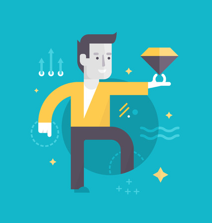 and has: Happy man with a diamond represents perfect customer experience he has gotten. Concept of customer care in business Illustration