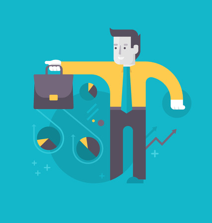 Success in investing and financing. Businessman with a briefcase surrounded with abstract financial charts. Financial business concept Illustration