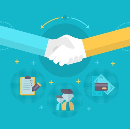 concluding: Handshake. Businessmen shake hands concluding a bargain. Concept of partnership in business