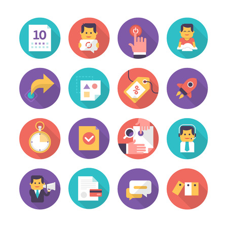 Modern icons in flat style of business events, customer care, commerce. Collection of flat icons isolated on white background
