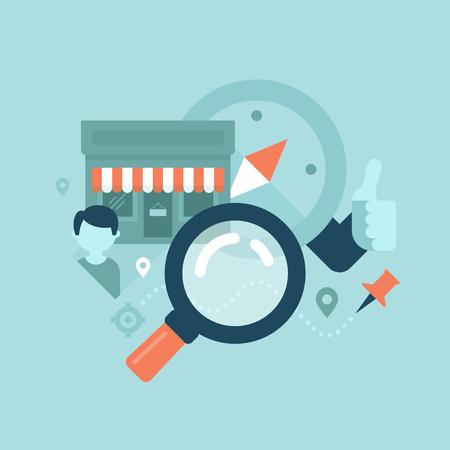 Het concept van het vinden van informatie over lokale gebied van kleine bedrijven die goederen of diensten in de buurt