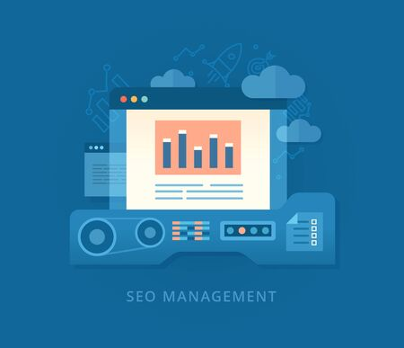 search engine optimization: Modern business concept in flat design style of search engine optimization and building seo strategy for web, mobile applications, business, social networks, e-commerce Illustration