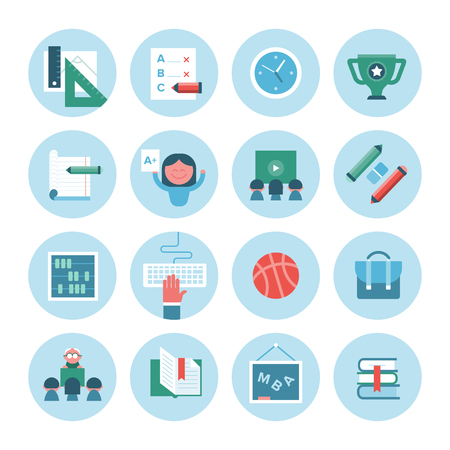 obtaining: Modern icons in flat design style of education, knowledge obtaining and student lifestyle. Illustration