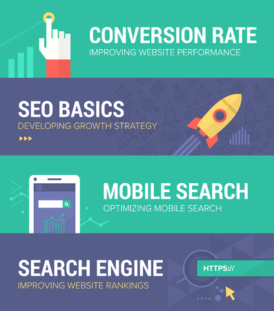 conversion: Set of banners in flat design style covering such themes as: conversion rate increase, developing seo strategy, improving mobile search and search engine ranking. Illustration
