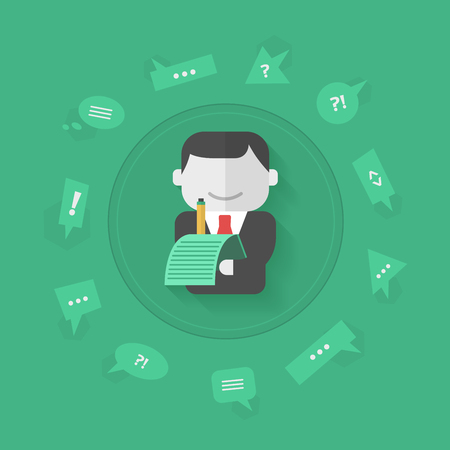 improving: Businessman is collecting feedback for improving customers service Illustration