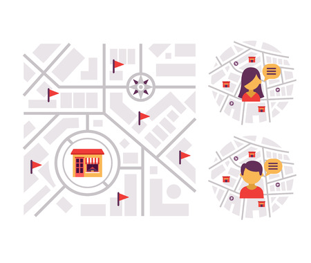 Location-based Marketing. Abstract concept of finding local businesses and services