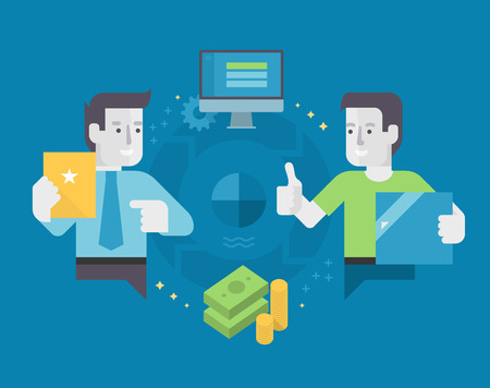 Diagrama de flujo del proceso de la comercialización del afiliado. concepto de marketing basado en resultados