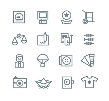 polygraph: Printing industry icons in outline modern style for web, mobile application and print design
