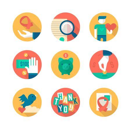 generosa: Colección de los iconos plana de la caridad en el negocio, lo que ayuda a los sin fines de lucro, la donación y la recaudación de fondos.