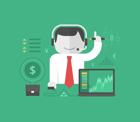 Online trading and investing. Successful stock trader conducts his business online. Business concept.