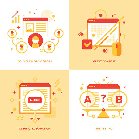 convert: Collection of concept icons in flat design style for business, seo technologies and marketing. Making website convert more visitors Illustration