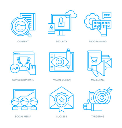 conversion: Modern line icons of digital marketing, building brand, business strategy, conversion rate, social media, digital technology. Linear icons to outline creative agencies, startups, mobile apps features Illustration