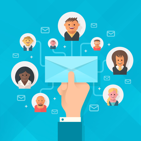 distributing: Concept of running email campaign, building online audience, email advertising, direct digital marketing. Human hand holding an envelope spreading information thought email distributing channel to  customers and followers