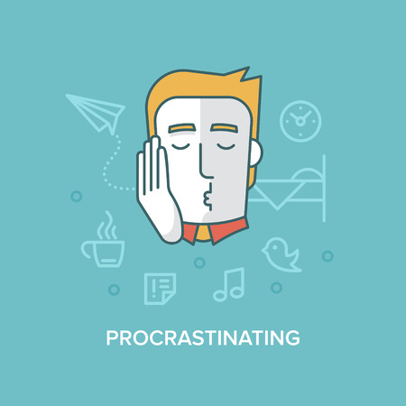 fantasizing: Modern style flat design illustration of a bored tired exhausted man procrastinating, dreaming, idling, sleeping at work. Time management and productivity concept