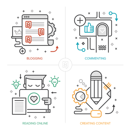 Set of modern linear icons of blogging, creating and publishing content, commenting and interacting with readers online, generating leads. Flat design vector concepts isolated on white background
