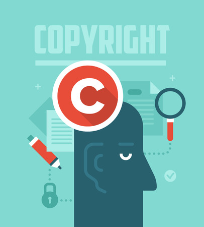 author: Abstract concept of copyrighting, ownership, intellectual property and author rights protection. Modern flat style design illustration.