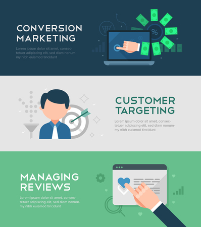 Set of conversion marketing banners in flat design style covering such themes as: digital marketing and SEO optimization, customer targeting, converting traffic and managing reviews
