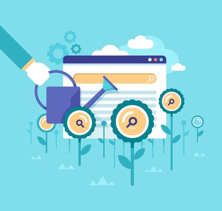 Modern flat design concept van het verbeteren van organische zoekresultaten, het verhogen van klantenbezoeken, resultaten van de zoekmachine resultaten, SEO, online marketing, webpagina optimalisatie