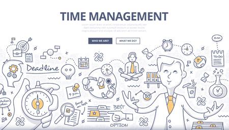Doodle stijl ontwerpconcept van effectieve zakenman die werktijd plant en organiseert, deadlines afhandelt, doelen behaalt. Moderne lijnstijlillustratie voor webbanners, heldenafbeeldingen, drukwerk