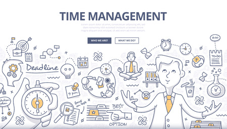 Doodle design style concept of effective businessman who plans and organizes working time, deals deadlines, achieves goals. Modern line style illustration for web banners, hero images, printed materials
