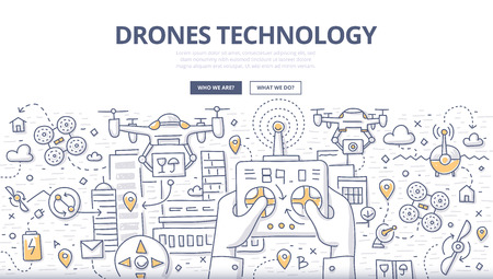 Doodle vector illustration of remotely controlled flying robots, unmanned aerial vehicles. Concept of drones technology for web banners, printed materials 版權商用圖片 - 122692516