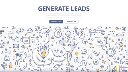 Doodle vector illustration of generating leads using such channels as: e-mail, website, networking, social media, influencer marketing . Concept of getting leads flow to grow business for web banners, hero images, printed materials