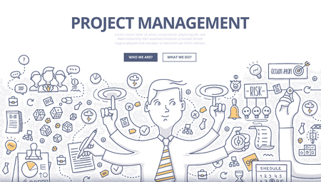 Doodle design style concept of project management, organizing, controlling company resources, risks, achieving project goals. Modern line style illustration for web banners, hero images, printed materials