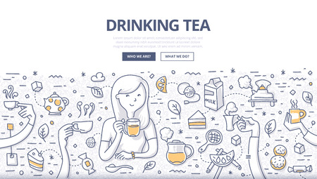 Doodle vector illustration of a woman drinking tea with different tea time elements and symbols around such as cake, teapot, sugar, lemon, cookies and so on. Concept of pleasure of having tea for web banners, hero images, printed materials Ilustrace