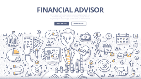 Doodle illustrazione vettoriale del consulente finanziario che dà consigli su investimenti, risparmio di denaro, gestione del denaro e pianificazione in anticipo. Concetto di consulenza finanziaria per banner web, immagini di eroi, materiali stampati
