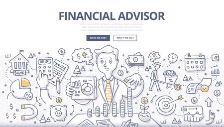 Doodle-Vektor-Illustration von Finanzberatern, die Ratschläge zu Investitionen geben, Geld sparen, Geld verwalten und vorausplanen. Konzept der Finanzberatung für Webbanner, Heldenbilder, Drucksachen