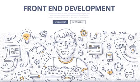 Illustration vectorielle Doodle du développeur Web créant un site Web, une application Web client, une interface. Concept de développement frontal pour bannière Web, image de héros, matériel imprimé