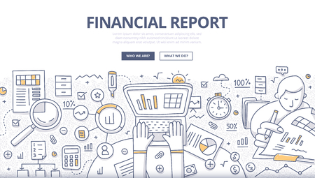 Doodle design style concept of business reporting, financial communication and investment. Modern line style illustration for web banners, hero images, printed materials