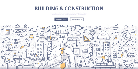 Doodle vector illustration of construction contractor with architectural plans in hand. Building and construction services concept for web banners, hero images, printed materials