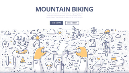 Doodle vector illustration of riding outdoor trail in mountains. Concept of mountain biking lifestyle and adventure for web banners, printed materials