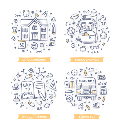 Set of doodle concept illustrations of  education and learning with school related symbols such as school building, backpack, notebook and school bus