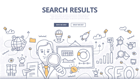 Doodle design style concept of search engine results optimization, SEO technology, user web search experience, website ranking, digital marketing. Modern line style concepts for web banners, online tutorials, printed and promotional materials
