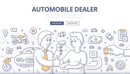 Doodle design style illustration of buying, selling new or used car, rent car, test drive. Automobile dealership modern line style concept for web banners, printed materials