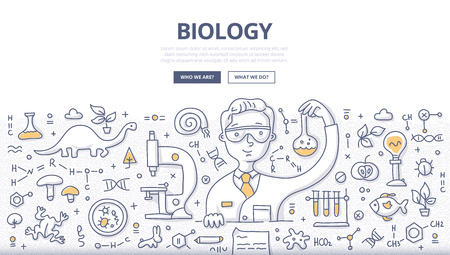 Doodle vector illustration of scientist experimenting in a lab. Biology and biotechnology doodle concept for web banners, hero images, printed materials