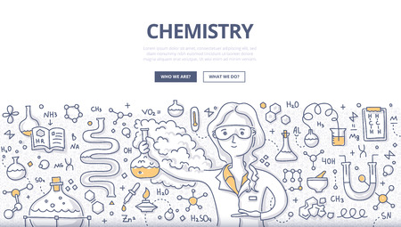 Doodle vector illustration of scientist woman with a chemistry glass explaining chemical reaction. Education concept of chemistry science for web banners, hero images, printed materials