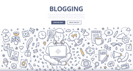 Doodle vector illustration of a blogger with a laptop working on creating, writing quality content. Concept of blogging for web banners, hero images, printed materials