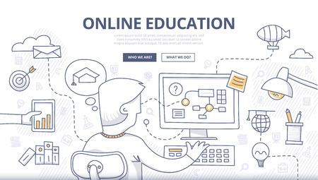 Doodle design style concept of online education, distance learning, retraining. Modern concepts for web banners, online tutorials, printed and promotional materials